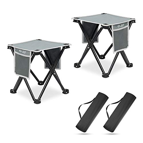 2 Pack Camping Stool SPITZE FORGE 137 Inch Small Portable Folding Chair for Outdoor Camping Fishing Hiking Gardening and Beach Slacker Chair with Carry BagSupport 450 LBS Capacity