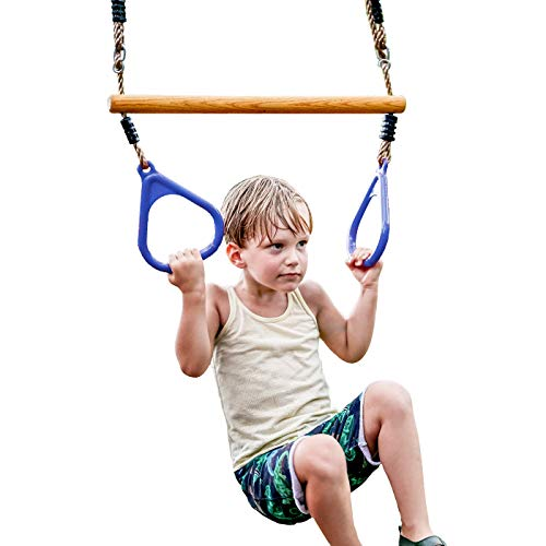 HappyPie Wooden Trapeze with Plastic Gym Rings - Outdoor N Indoor Playground 2 in 1 Swing Set Accessories for Kids (Blue)