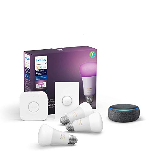 Philips Hue White and Color LED Smart Button Starter Kit, 3 A19 Smart Bulbs, 1 Smart Button & 1 Hue Hub (Works with Alexa, Apple HomeKit & Google Assistant)