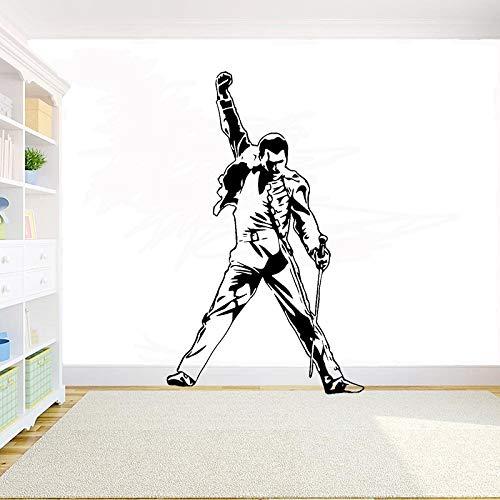 Wandtattoo,Vintage Freddie Mercury Queen Band Wandtattoo Musik Rock Jungen Schlafzimmer Wohnzimmer Vinyl Aufkleber Abnehmbare Raumdekoration 93x57 cm
