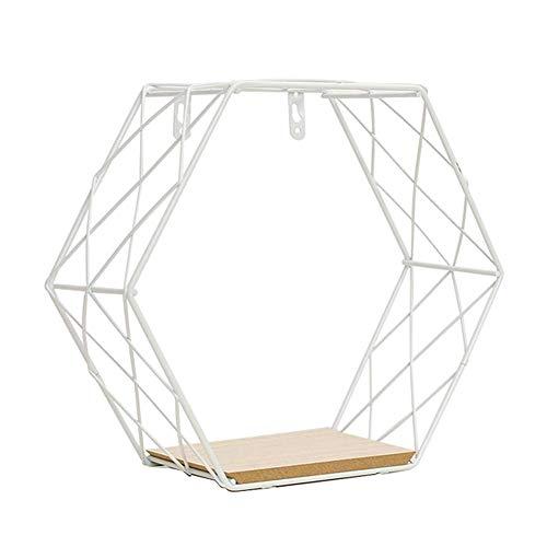 Giytoo Wanddekoration Eisen sechseckig Gitter Wandregal Kombination hängend Geometrische Figur Wanddekoration für Zuhause