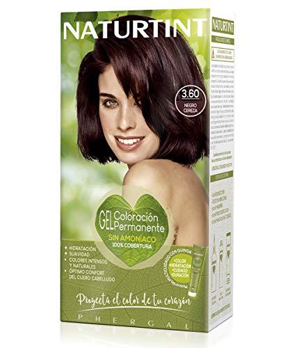 Naturtint | Coloración sin amoniaco | 100% cobertura de canas | Ingredientes vegetales | Color natural y duradero | 3.60 Negro Cereza | 170ml