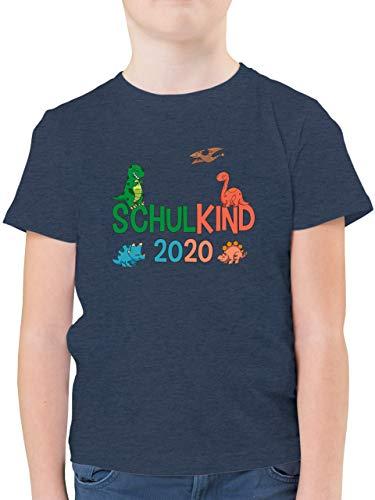 Einschulung und Schulanfang - Schulkind 2020 Dinos - 128 (7/8 Jahre) - Dunkelblau Meliert - Schulkind 2019 Junge - F130K - Kinder Tshirts und T-Shirt für Jungen