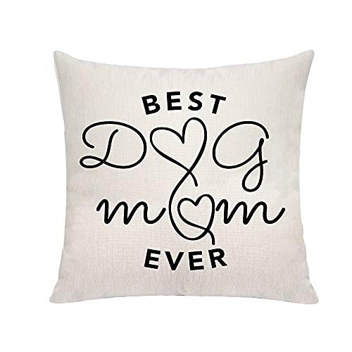 VAVSU Best Dog Mom Ever Gifts Funny for Dog Mum Cute Fundas de almohada Fundas de almohada 45 x 45 cm Fundas de cojín Sofá Cama Hogar Accesorios de Moda