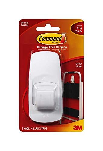 Command 17004-6_Value Jumbo Plastic Hook with Adhesive Strips, 6 Hooks, White