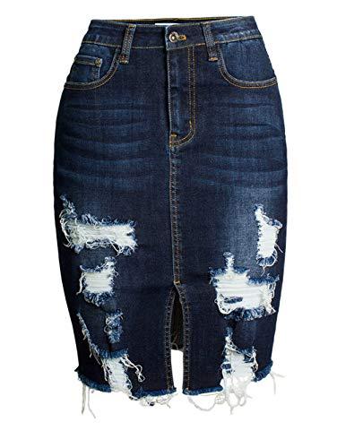 chouyatou Women's Bodycon Front Split Frayed Dark Washed Midi Denim Pencil Skirt (Medium, Dark Blue)