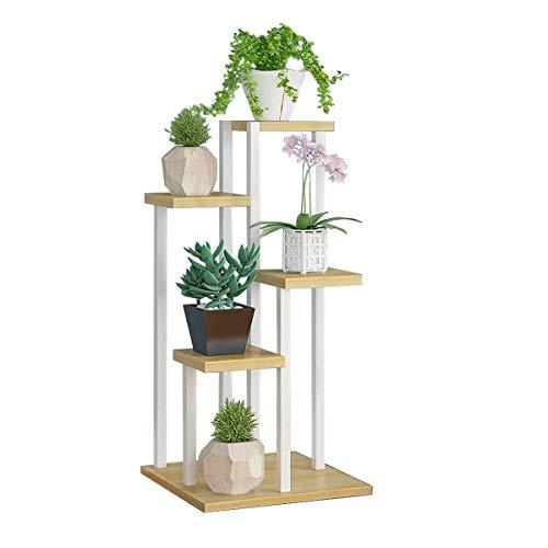Vloer bloemenrek Flower Rekken Plant Display Stand Metal Frame Garden opslag Rack Outdoor Indoor Bloempotten Holder in White for Living Room Garden Balkon 5 Tier Eenvoudige bloempot meerlagige plank