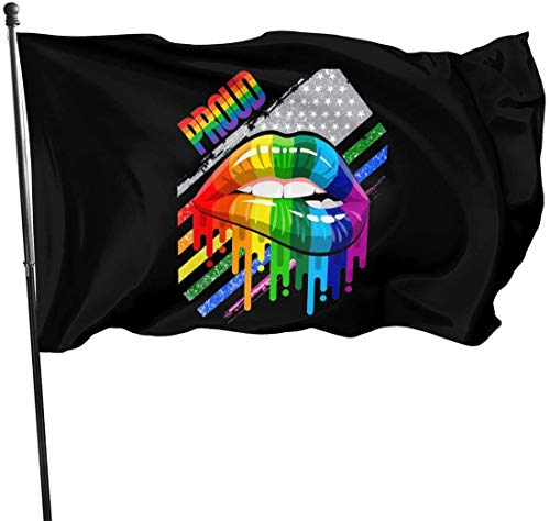 Oaqueen Flagge/Fahne, Lesbian Rainbow Lips Pride Home Garden Yard Flags 3 X 5 Feet Pennants Indoor Outdoor Fall Flags Wall Banners Decoration