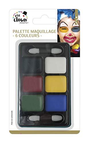 P'tit Clown 91011 Fard Gras - Palette 6 Couleurs + 2 Applicateurs - Multicolore
