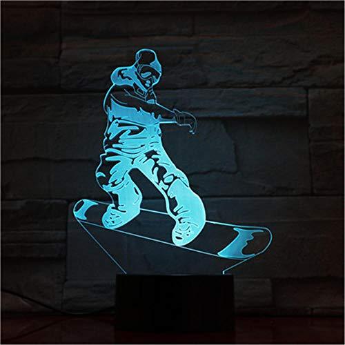 Nachtlicht Skateboard Kinder Nachtlicht 3D Optische Täuschung 7 Farben Ändern Beleuchtung Geburtstag Weihnachten Erstaunliche Geschenke für Baby Kinder Mädchen