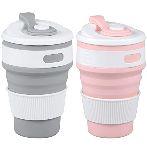 MommyLove 2 Pack Silicone Collapsible Cups(350ML Each) BPA-Free Reusable Travel Cup, Sport Bottle...