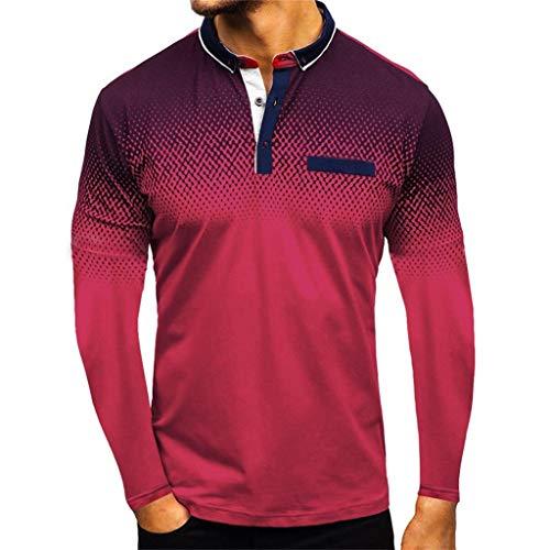 Fenverk Herren Poloshirt Polohemd Kurzarmshirt Shirt Basic, Einfarbig Basic Kurzarm, Herren Slim Fit Kontrast T-Shirt Kurzarm Stehkragen Men's Plain(B#rot,M)