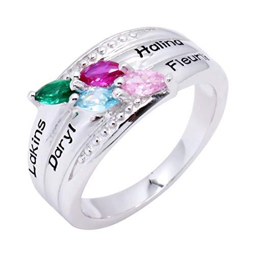 Collienght Gravierte Mütter Ring & Four Stone - Custom Made Ring mit Birthstones-personalisiertes Geschenk für Muttertag(Silber 65 (20.7))