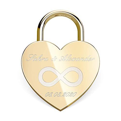 Herz Liebesschloss mit gratis Gravur - Schloss mit einem Schlüssel (Beutel) - Gold