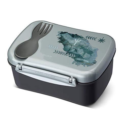 Carl Oscar Schwedische Design Lunch Box - Bento Box Brotzeitdose Lunchbox mit Kühlakku und Besteck hält Mehrere Stunden kühl, 17 x 12,5 x 8 cm Grau