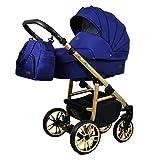 Passeggino 3 in 1 set completo con seggiolino auto Isofix baby tub baby carrier Buggy Colorlux Gold di ChillyKids Sailor Blue 2in1 senza seggiolino
