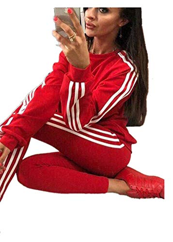 Damen Trainingsanzug Jogginganzug Sportanzug Fitness Kapuzen Hoodie, 2 Stücke Set Outfit Sport Yoga Fitness Bodycon Slim Jogginganzug Langarmhemd Crop Top + Leggings (Rot,S)