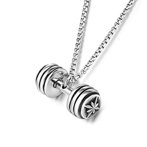 Stainless Steel Vintage Fitness Barbell Men's Punk Rock Pendant Necklace Dumbbells Jewelry Gift For Him