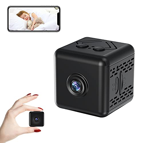 Wireless WiFi Hidden Camera, PomisGam 4k HD Home Security Surveillance Cameras with Night Vision, Motion Detection, Live Remote View, Square Wide-Angle Lens Mini Camera for Indoor Outdoor Using