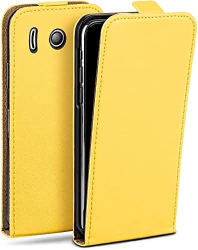 moex Flip Hülle für Huawei Ascend Y300 Hülle klappbar, 360 Grad R&um Komplett-Schutz, Klapphülle aus Vegan Leder, Handytasche mit vertikaler Klappe, magnetisch - Gelb