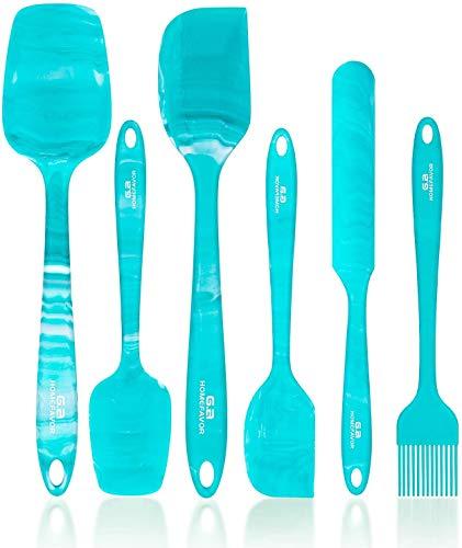 G.a HOMEFAVOR Teigschaber Silikon Hitzewiderstandsfähig Teigspatel Set Spatel Silikon Spatula für Küche Backen 6-Teiliges Set, Blau-Grün