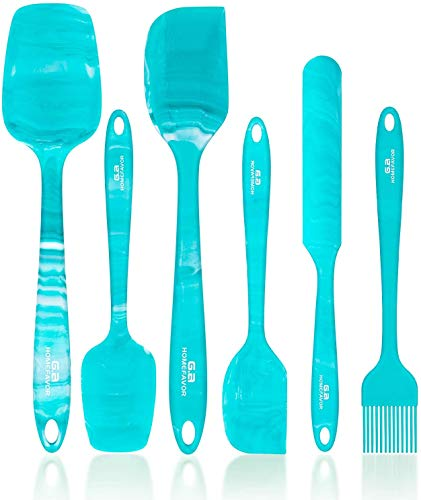 G.a HOMEFAVOR Teigschaber Silikon Hitzebeständig Teigspatel Set Spatel Silikon Spatula für Küche Backen 6-Teiliges Set, Blau-Grün