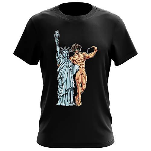 Attack on Titan Lustiges Schwarz T-Shirt - Eren Jäger und die Freiheitsstatue (Attack on Titan Parodie) (Ref:1122)