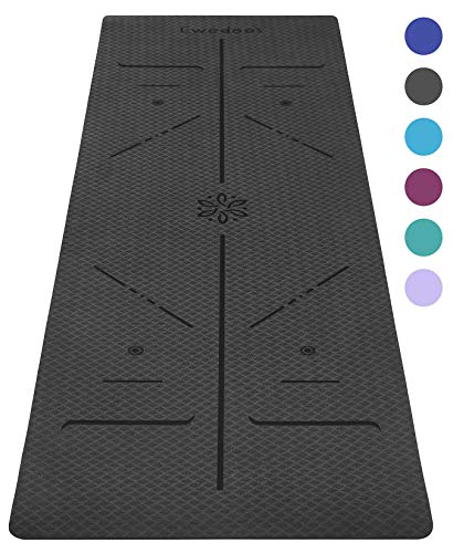 Ewedoos Eco Friendly Yoga Mat with Alignment Lines, TPE Yoga Mat Non Slip Textured Surfaces ¼-Inch Thick High Density Padding to Avoid Sore Knees, Perfect for Yoga, Pilates and Fitness (Gray)