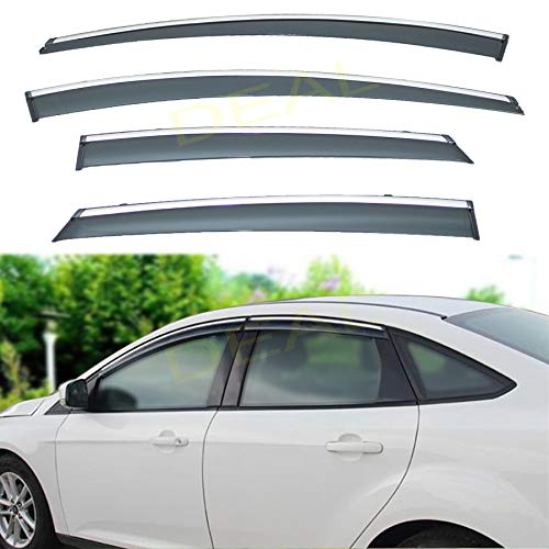 DEAL AUTO ELECTRIC PARTS 4-Piece Set Outside Mount Tape On/Clip On Type Smoke Tinted Sun/Rain Guard Vent Window Visors With Chrome Trim Compatible With 2012-2018 Focus All Models
