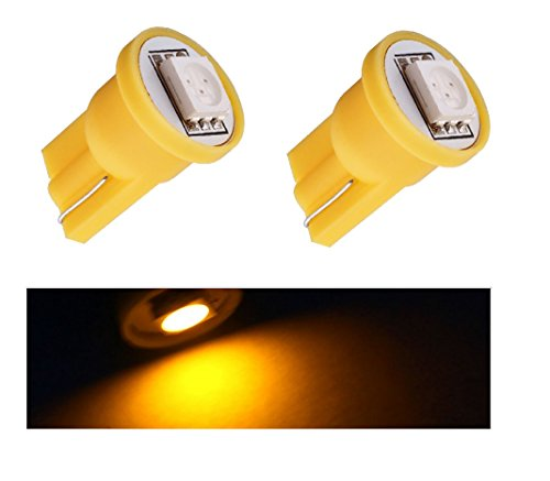 Lot de 2 feux de position LED jaune T10 SMD 5050 Ampoule de voiture 6000 K 12 V Yellow