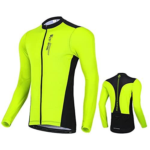 West Biking Herren Radtrikot Langarm, Fahrradtrikot Radsport T-Shirt mit 3 Rückentaschen, Atmungsaktives Fahrrad Trikot Schnelltrockend Trek Radtrikot Fahrradbekleidung für MTB Rennrad, Grün, XL