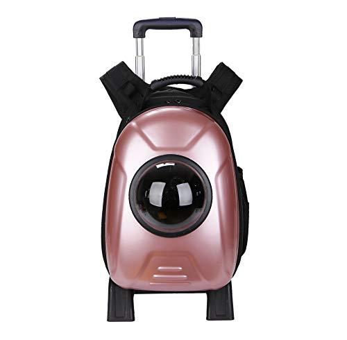 Lirui Huisdiertas, zacht met zijde, voorzien van een ademende trolley-box met afneembare wielen voor kleine en middelgrote honden en katten, 32 x 29 x 42 cm rood