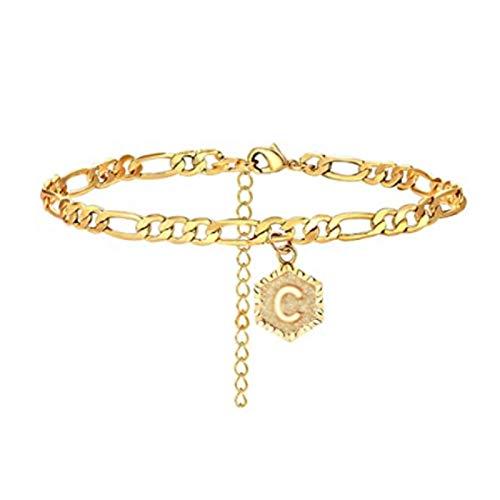 Tobillera de regalo para mujer, con colgante de letra mayúscula de la A a la Z, pulsera ajustable, tobillera y cadena de pie – C