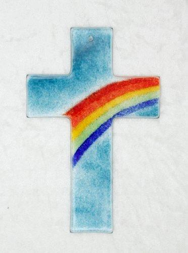 Glaskreuz Regenbogen 9,5 x 14,5 cm