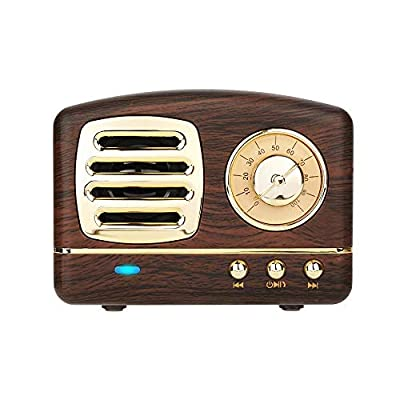 Dosmix Wireless Stereo Retro Speakers, Portable Bluetooth Vintage Speakers with Powerful Sound, Hands-Free Calls, Alexa Support, TF Card, AUX for Kitchen Bedrooms Party Outdoor Android iOS Wooden