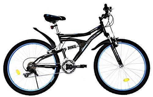T&Y Trade 26 Zoll MTB Mountainbike Kinderfahrrad Mädchenfahrrad Kinder Herren Fahrrad Rad Bike Vollgefedert Fully 21 Gang Beleuchtung STVO 4300 Schwarz Blau