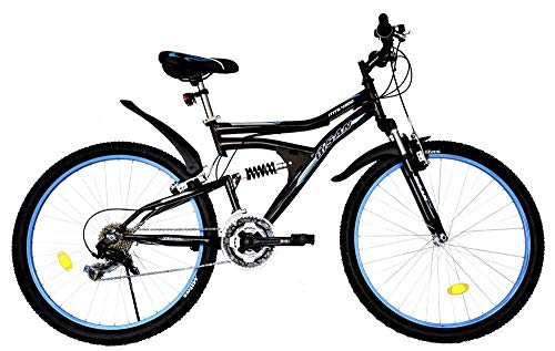 T&Y Trade 26 Zoll MTB Mountainbike Kinderfahrrad Mädchenfahrrad Kinder Herren Fahrrad Rad Bike Vollgefedert Fully 21 Gang 4300 Schwarz Blau