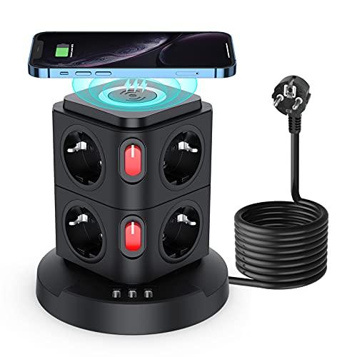 8 Fach Steckdosenleiste überspannungsschutz, Mehrfachsteckdose mit USB, Steckdosenturm mit 3 USB und 2 einzeln Schalter, Wireless Ladefunktion für Wohnzimmer und Büro ( 2500W/10A, 2M Kabel )