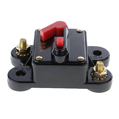 perfk Sistema de Protección de Disyuntor de Reinicio Manual Portafusibles para Automóvil - Negro 80amp