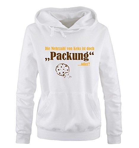 Comedy Shirts - Mehrzahl von Keks - Packung - Damen Hoodie - Weiss/Gelb-Braun Gr. L