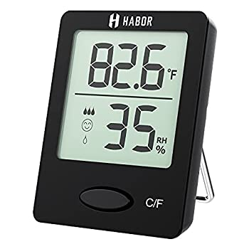 Habor Hygrometer Humidity Gauge Mini Size Indoor Room Thermometer with Air Comfort Level Indicator for Home Office Garage Greenhouse Black