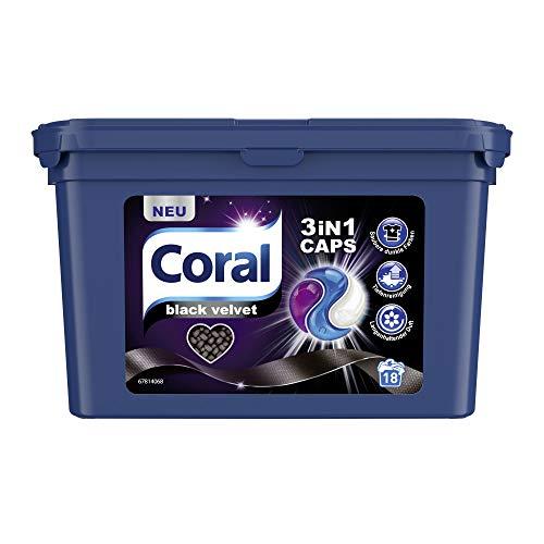 Coral Waschmittel Caps für dunkle Wäsche – 18 Waschladungen für intensives Schwarz – Black Velvet 3in1 Caps, 18 x 27 g