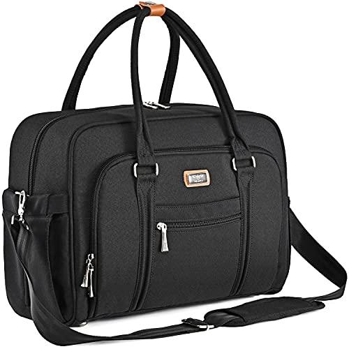 Bolsa de Pañalera WEAVILA, bolso para pañales unisex con almohadilla para cambiar y bolsillos aislados para Mamá y Papá, bolsa de viaje convertible (Negro)