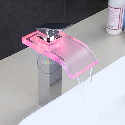 Galvanik - Grifo de diseño retro para lavabo, sin batería, montaje en la parte superior del lavabo. Colector de descarga de latón y cristal con iluminación LED para grifo. Grifo mezclador de agua, cromo.