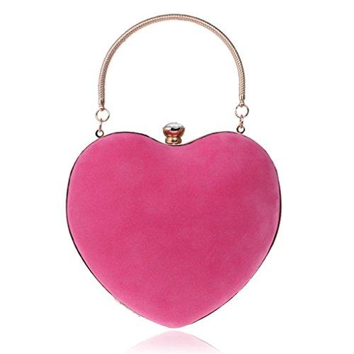 Dabixx donne cuore pochette velluto borsetta da sera borsa catena feste di matrimonio rosso, rosa, 16x25cm/6.3x9.84