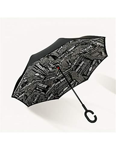 KDLVJ Regenschirm Langer Griff Winddichter Umkehrschirm Doppelschicht-Sonnenschirm Regenschirme Poncho Sonnenschirm, Stil H