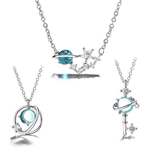 Conjunto de colar com pingente de 3 estilos Fada Mar Azul Lua Estrela Terra Céu Estrelado Céu Estrelado Delicado Astronomia Conjunto de colar de joias