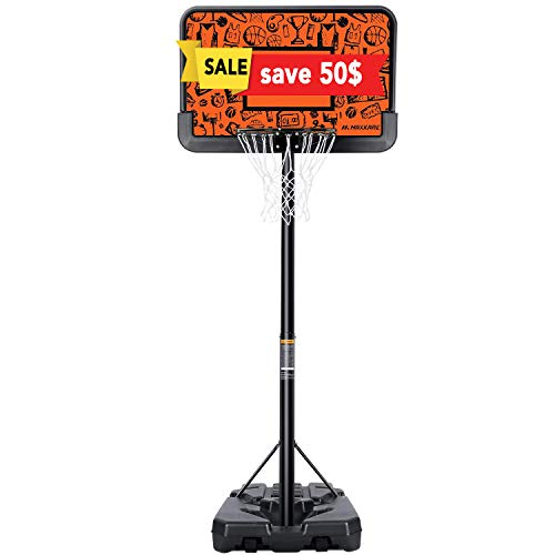 【Limited Promotion】 MaxKare Basketball Hoop Portable Goal Basketball System Stand Height Adjustable 7ft 6in-10ft with 44 Inch Backboard & Wheels Basketball Equipment for Youth Kids Indoor Outdoor Use