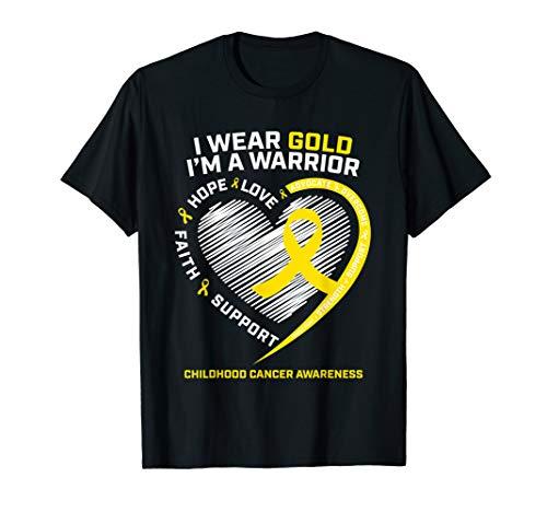 I Wear Gold I'm a Warrior Kids Childhood Cancer Awareness T-Shirt