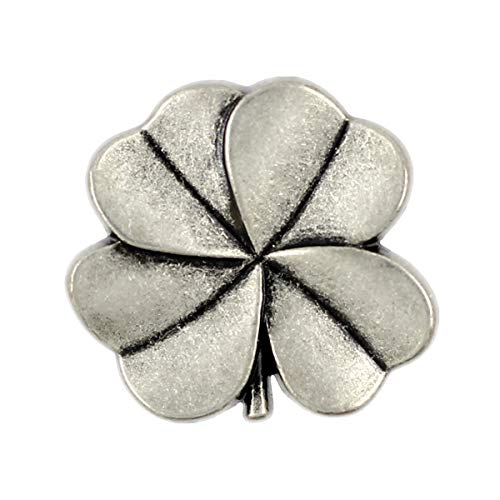 Bezelry 12 Pieces Clover Metal Shank Buttons. 20mm (3/4 inch) (Antique Silver)